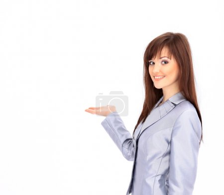 Oung businesswoman isolated over white background gesturing an open hand