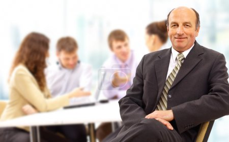 Photo for Portrait of confident and successful team of business men smiling - Royalty Free Image