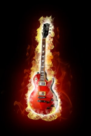 Photo for Fire electric guitar - Royalty Free Image