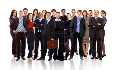 Photo pour Affaires équipe formée de jeunes entrepreneurs, debout sur un fond blanc - image libre de droit