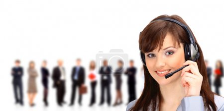 Photo for Call center operator with headset and business team - Royalty Free Image