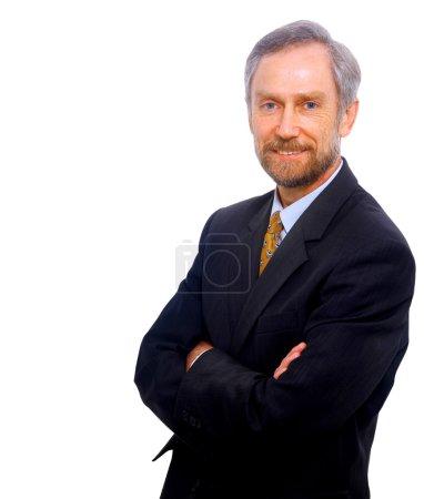 Photo pour Homme d'affaires isolé sur blanc renseignements - image libre de droit