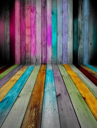 Photo pour Une pièce en bois multicolore créative comme fond - image libre de droit