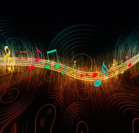 Photo for Glowing music notes on a creative background with vinyl records - Royalty Free Image
