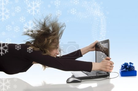 Creative snow wind from laptop