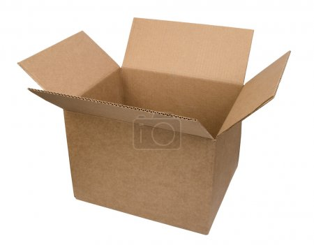 Photo for Open cardboard box on white background - Royalty Free Image