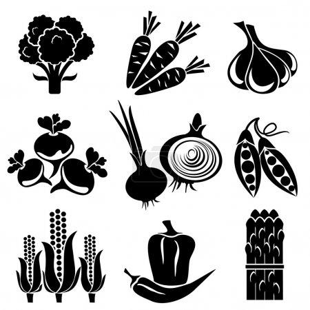 Illustration pour Ensemble d'icônes vectorielles de silhouette de légumes. icônes noir et blanc . - image libre de droit