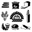 Set of vector silhouette icons of bread and pastry...