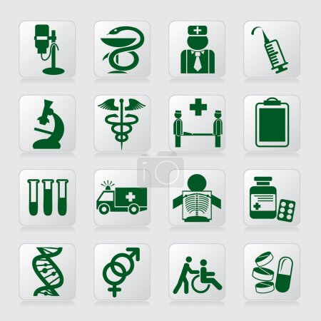 Illustration for Set of vector icons of medical symbols and signs - Royalty Free Image