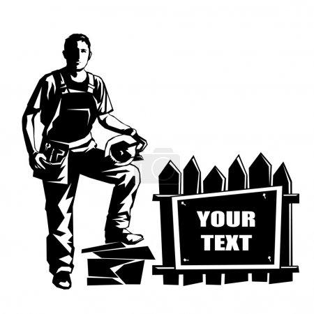 Illustration pour Bannière construite par constructeur d'image vectorielle au pochoir. Peut être utilisé comme logo - image libre de droit