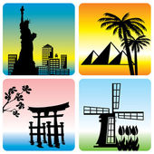 Set of vector silhouette illustration of world tourism landmarks