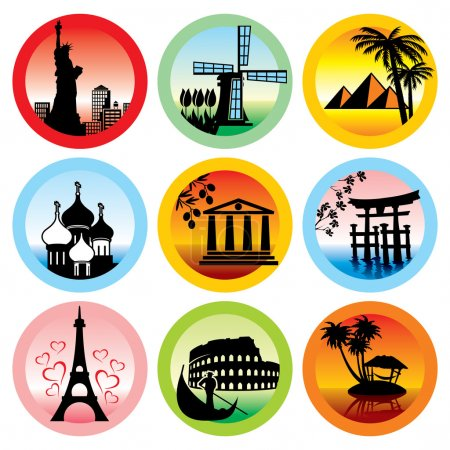 Photo for Set of vector icons for travel to various countries - Royalty Free Image
