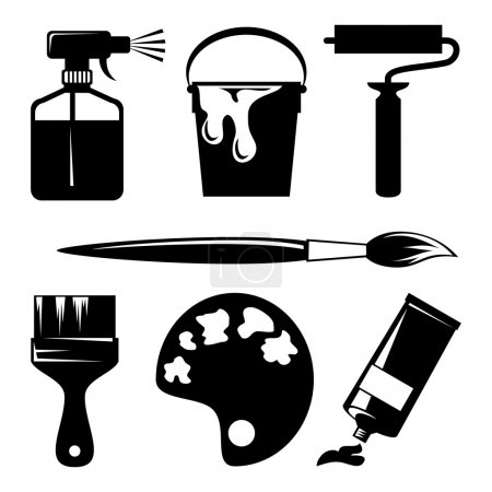 Illustration for Set of vector silhouette icons of paint and painting tools - Royalty Free Image