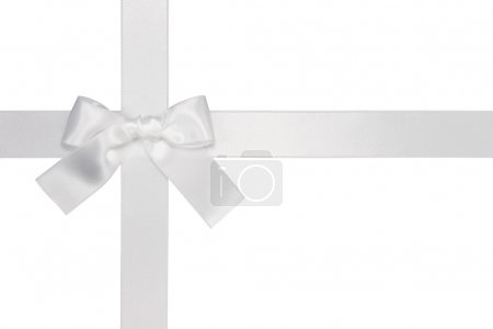 White cross ribbon with bow