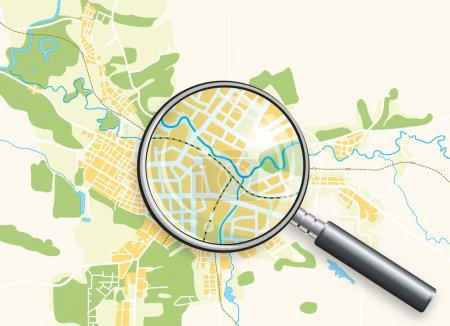 Illustration for Map of the City and A Loupe. Color bright decorative background vector illustration. - Royalty Free Image