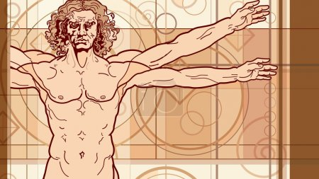 Illustration for 'Homo vitruviano' fragment. So-called The Vitruvian man a.k.a. Leonardo's man. - Royalty Free Image