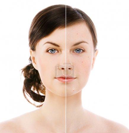 Photo pour Image du visage de la femme sur fond blanc - image libre de droit