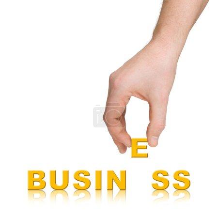 Photo pour Main et mot Business, isolé sur fond blanc - image libre de droit