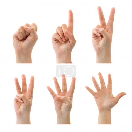 Photo for Counting woman hands (0 to 5) isolated on white background - Royalty Free Image