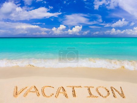 Photo for Word Vacation on beach - concept travel background - Royalty Free Image