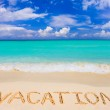 Word Vacation on beach - concept travel background...