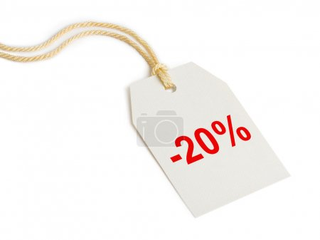 Label discount 20% isolated on white background...