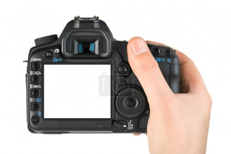 Photo for Photo camera in hand isolated on white background - Royalty Free Image