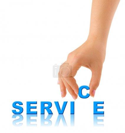 Photo pour Hand and word Service - concept d'entreprise, isolé sur fond blanc - image libre de droit
