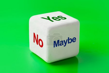 Dice with words Yes, No and Maybe