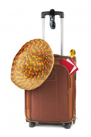 Travel case, hat, compass and sunglasses