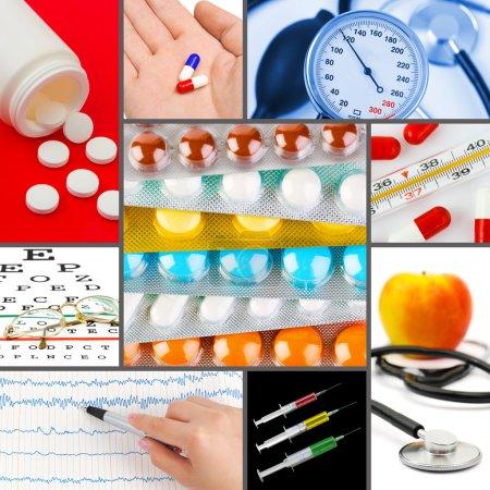 Photo pour Collage d'images médicales (mes photos) - fond de santé - image libre de droit