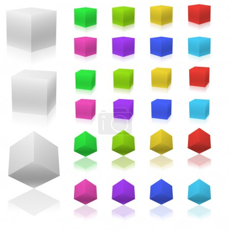 Illustration for Vector set of 3D color cubes isolated on white background. - Royalty Free Image