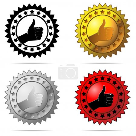 Illustration for Vector labels with thumb up sign symbolizing best choice, best price, high quality, etc. isolated on white background. - Royalty Free Image