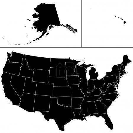 Illustration for Detailed vector shape of the Unites States of America including Alaska and Hawaii. The states borders are on the separate layer and can be easily removed. - Royalty Free Image