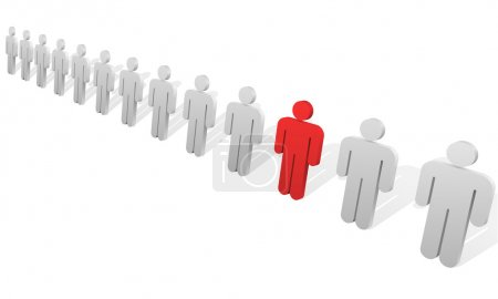 Illustration for Individuality concept. One red abstract person figure in the row of white ones. - Royalty Free Image
