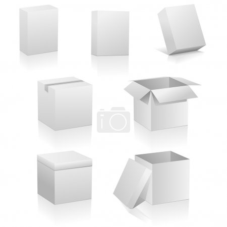 Photo for Vector set of blank boxes isolated on white background. Three kinds of boxes is represented: software box, traditional packing box and retail or present box. - Royalty Free Image