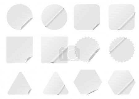 Illustration for Blank white stickers isolated on white background. - Royalty Free Image