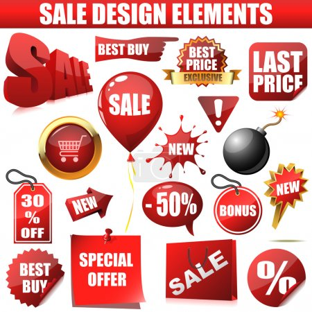Illustration for Vector set of sale design elements isolated on white background. - Royalty Free Image