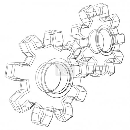 Illustration for Pencil sketch stylized 3D cogwheels isolated on white background. - Royalty Free Image
