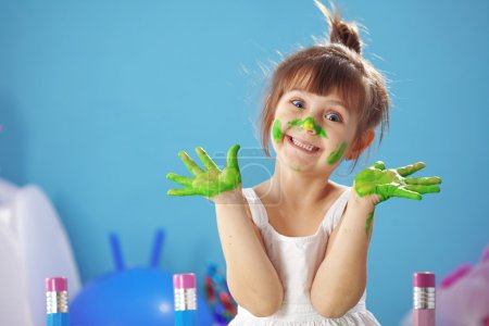 Photo for Happy Child painting in the kindergarten - Royalty Free Image