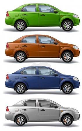 Illustration pour Nouveau modèle d'autos vectorielles sur fond blanc, vectoriel, illustration - image libre de droit