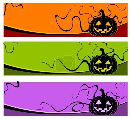Illustration for Halloween grimace pumpkin on color background, vector illustration - Royalty Free Image