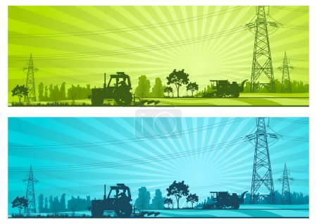 Illustration for Agriculture landscape with machineries and high-voltage line, vector illustration - Royalty Free Image