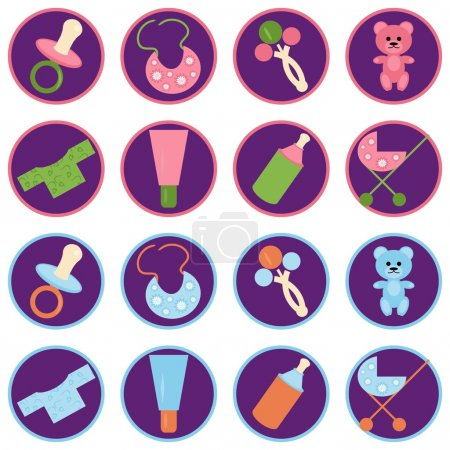 Set with baby objects icons