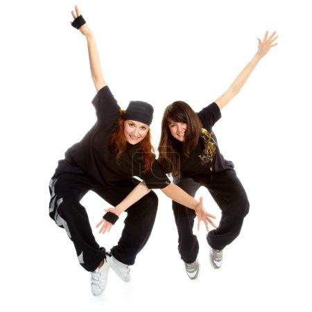 Two beautiful girls breakdancers