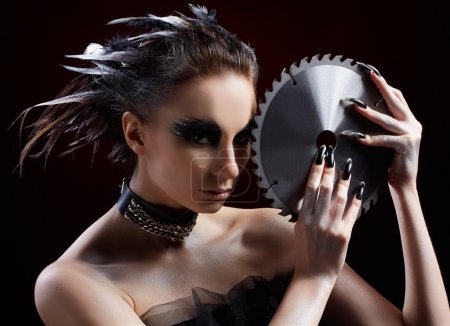 Girl with circular saw