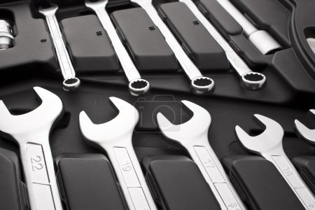 Photo for Kit of metallic tools as background - Royalty Free Image