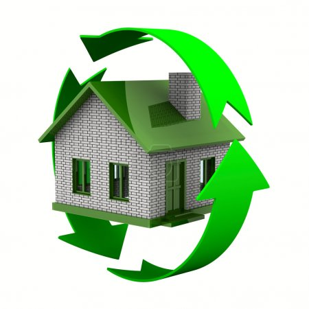 Ecological house. Isolated 3D image on white...