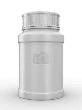 Bottle for tablets on white background