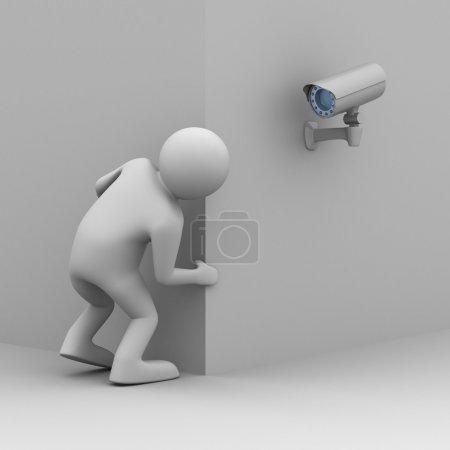 Photo pour La personne regarde hors du coin. Image 3D - image libre de droit